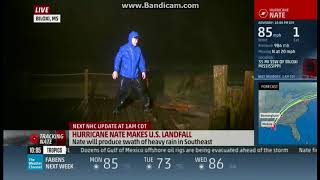 Lawn chair almost hits Weather reporter DURING HURRICANE NATE