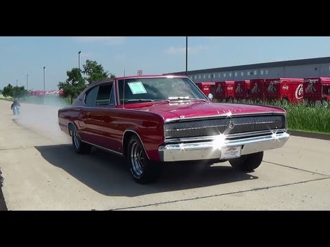 Test Drive And Burnout 1966 Dodge Charger 426 Hemi Muscle Car - Fast Lane Classic Cars