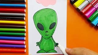 Drawing A Cute Green Alien Kid