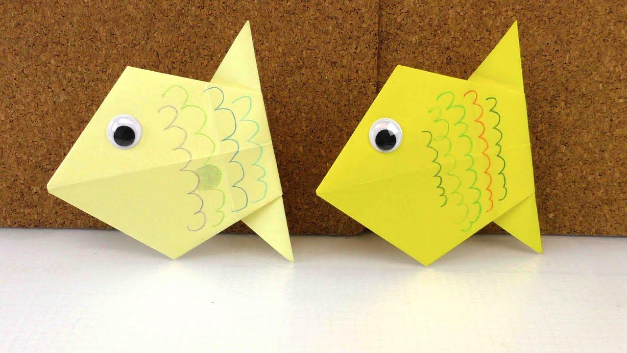 diy origami deutsch einfach wie falte ich einen fisch aus papier anleitung youtube
