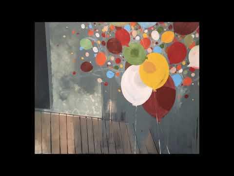birthdy balloon oil painting art