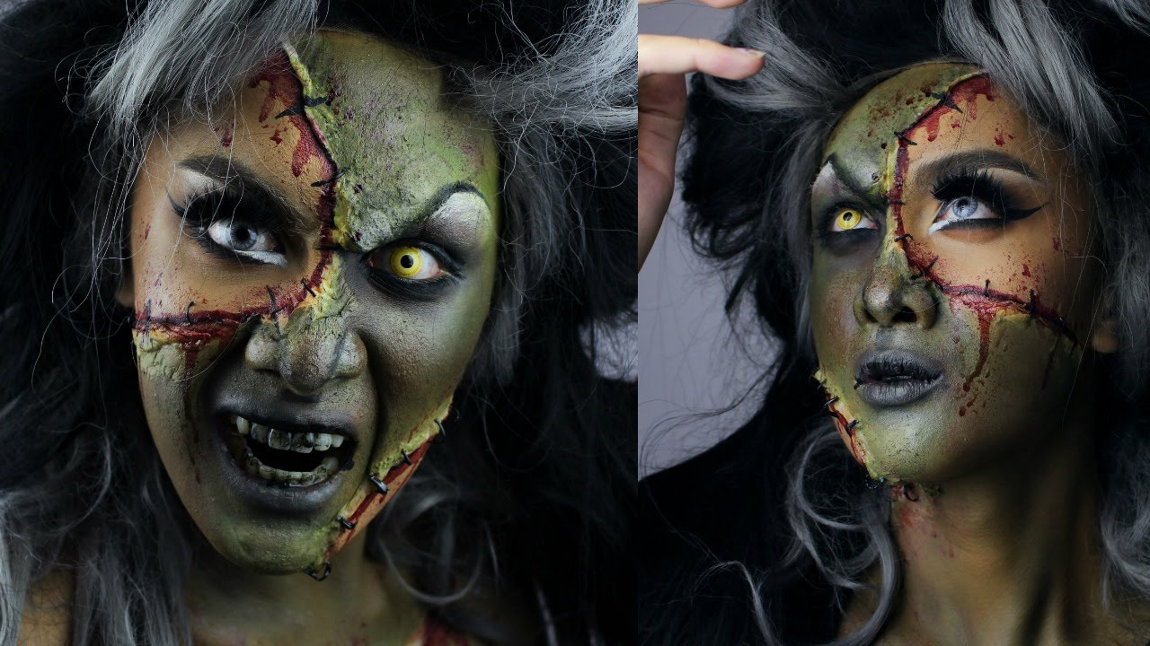 Bride Of Frankenstein Hair & Makeup Halloween Tutorial - YouTube