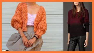 como hacer un jersey de punto sencillo | Sueter tejido para mujer, Suéter tejido, Tejidos de moda
