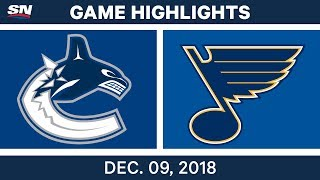 NHL Highlights | Canucks vs. Blues - Dec 9, 2018