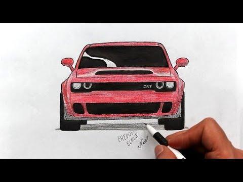 Как нарисовать машину Dodge Challenger SRT Hellcat