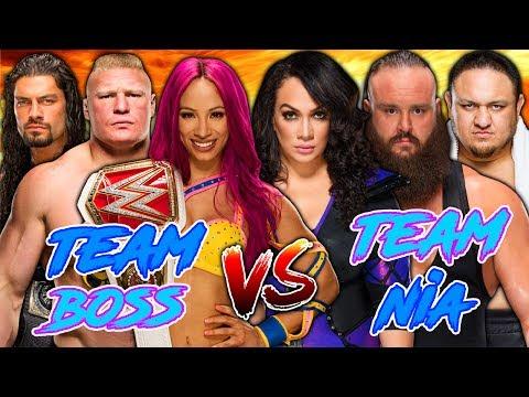 Sasha Banks & Roman Reigns & Brock Lesnar vs. Samoa Joe & Braun Strowman & Nia Jax
