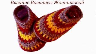 Пинетки тапочки крючком цветные//Василиса