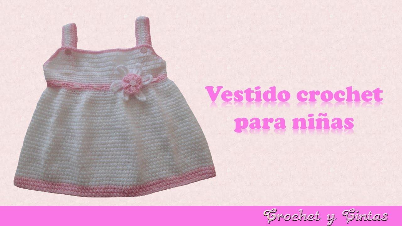Vestido con flor tejido a crochet para niña - YouTube