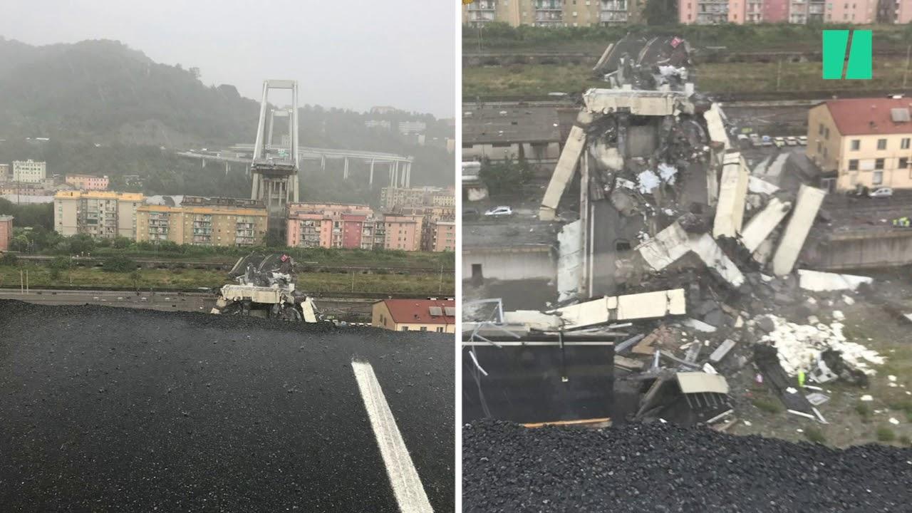 Les images spectaculaires après l'effondrement du pont Morandi à Gênes