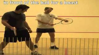 Squash videos online to learn feet positioning for rail, cross and boast