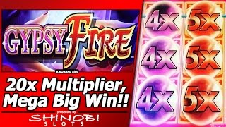 Gypsy Fire Slot - Free Spins Mega Big Win Bonus with 20x Multipliers