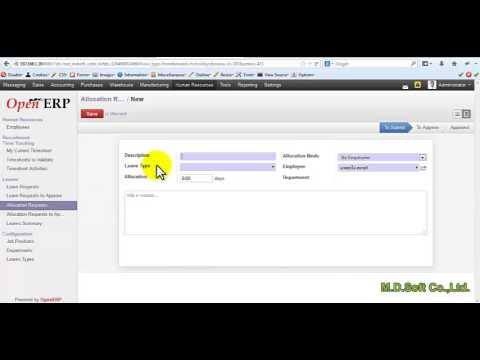 OpenERP การตั้งค่า HR สำหรับวันหยุด วันลา การลา ของพนักงานในระบบ Holiday Management