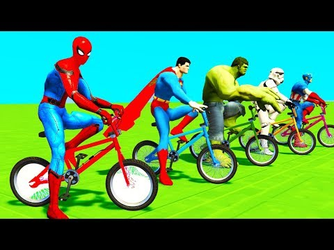 Thumbnail: Learn Colors Spiderman Cars & Motor Cycle for Kids - Superheroes Cartoon w Songs for Babies