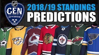NHL 2018-19 Central Division Standings Predictions