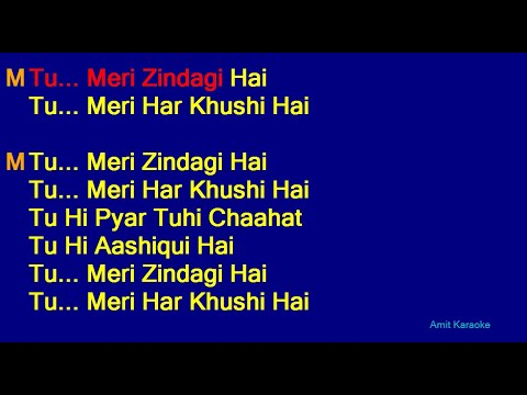 Tu Meri Zindagi Hai - Kumar Sanu Anuradha Paudwal Duet Hindi Full Karaoke With Lyrics