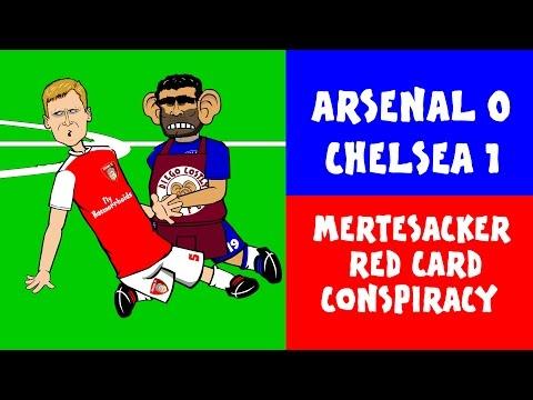 Per Mertsacker RED CARD CONSPIRACY! Arsenal 0-1 Chelsea Cartoon Highlights (24.1.2016)