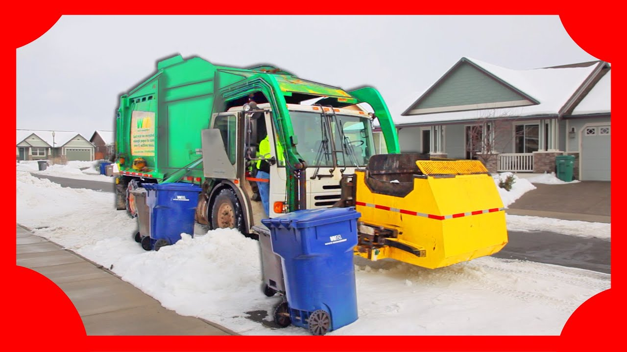 garbage truck videos for kids machines for kids in the snow youtube. Black Bedroom Furniture Sets. Home Design Ideas