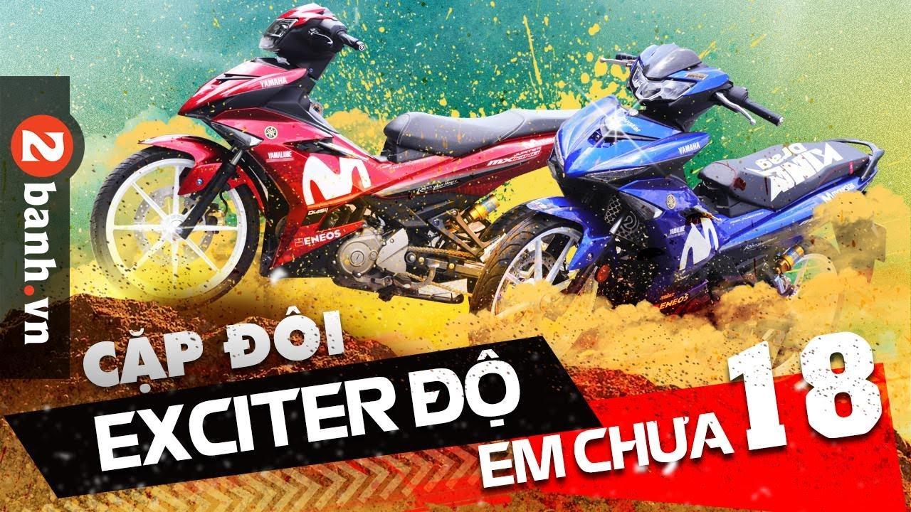 Cặp đôi Exciter 150 độ dàn áo Movistar Xanh – Đỏ cực CHẤT |2banh Review