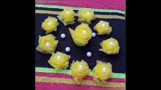make easy rose flower with net