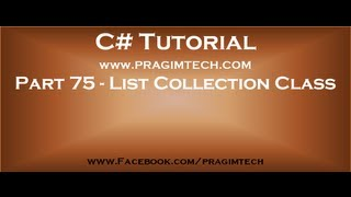 Part 75   List collection class in c# continued