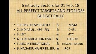 01 Feb. 2018 || Budget special 2018 || Stocks and Sectors for Tomorrow Intraday  Market || [ PART 1]