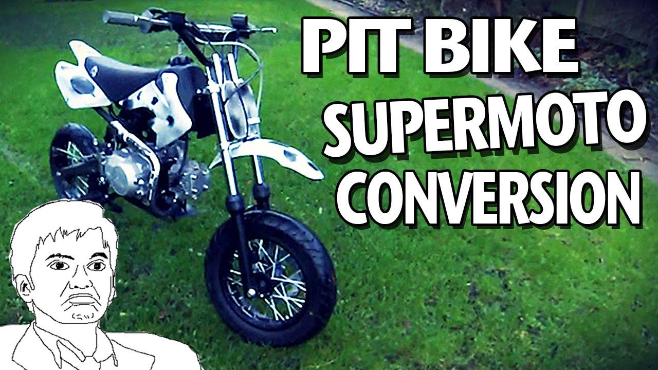 supermoto pit bike conversion road legal pit bike youtube. Black Bedroom Furniture Sets. Home Design Ideas