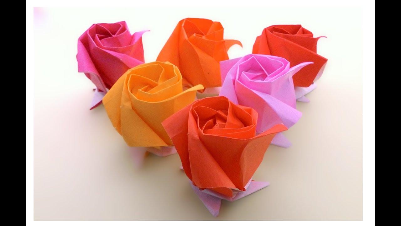 Origami Kawasaki Rose ...พับกุหลาบคาวาซากิ..แสนสวย - YouTube - photo#18