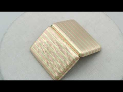 14ct Yellow and Rose Gold Cigarette Case by Fabergé - Antique Circa 1910 - AC Silver (A7390)