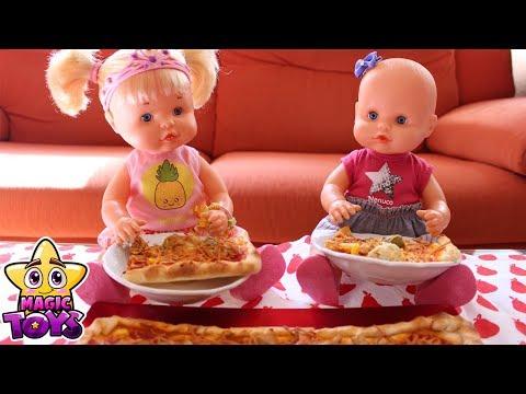 RECETAS DE COCINA de las Bebés NENUCO Hermanitas Traviesas hacen PIZZA para comer