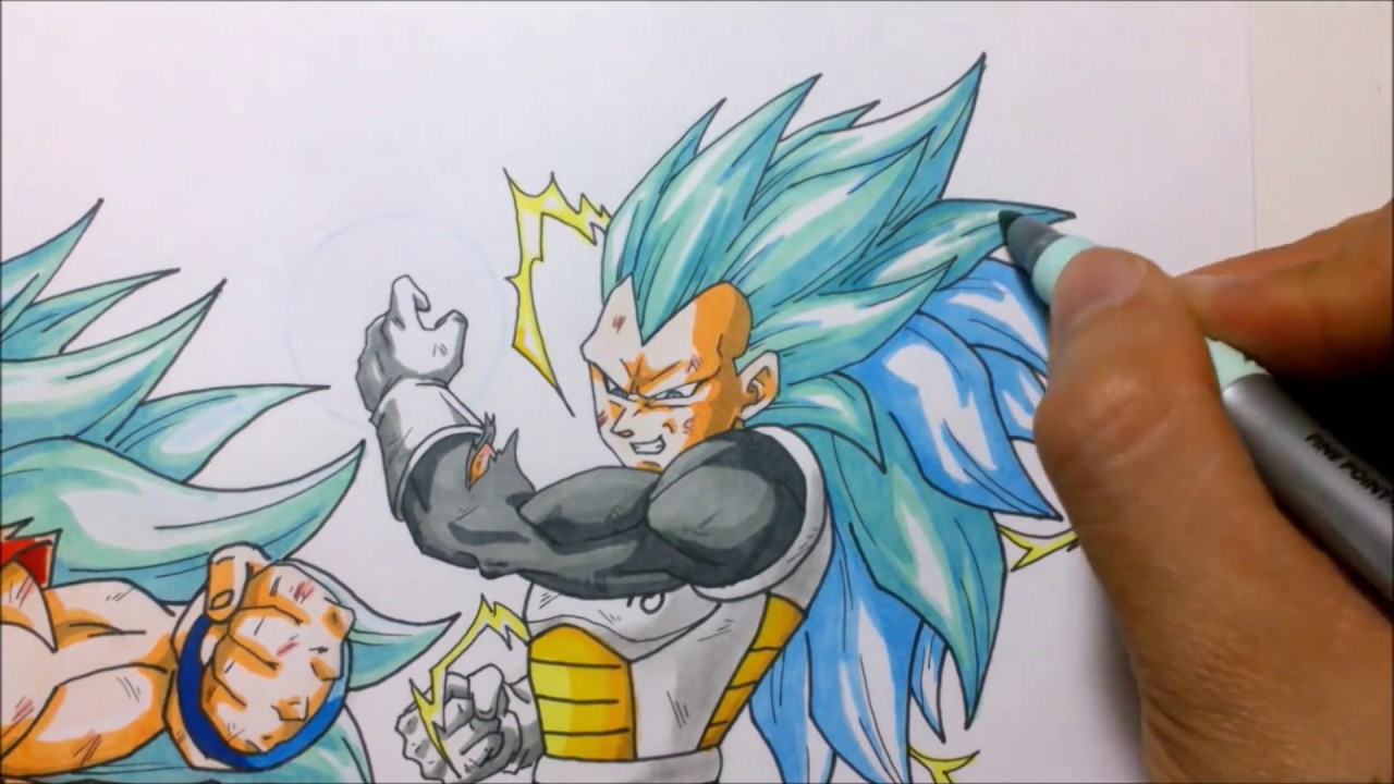 Dibujando A Goku Vs Vegeta Ssj God Ssj Fase 3 Drawing Goku Vs