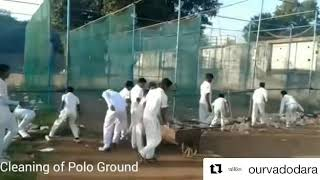 Students of Cricket Club at Polo Ground cleaned the ground on their own due