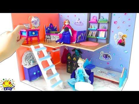 アナとエルサのお部屋を手作り工作❤︎ ミニチュアベッドや家具をDIY❤︎ miniature FROZEN Anna Elsa Bedroom Dollhouse たまごMammy