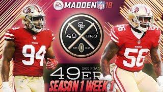 Madden 18 San Francisco 49ers Connected Franchise | Season 1 Week 1 vs. The Carolina Panthers 2017 Video