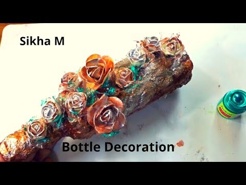 #DIY #BottleDecoration #BottleArt | Vintage Look Wine Bottle | Glass Bottle Decoration | Sikha M