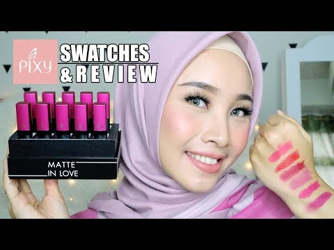 PIXY CSOMETICS MATTE IN LOVE LIPSTICK SWATCHES + REVIEW | COMPLETE ( 10 WARNA )