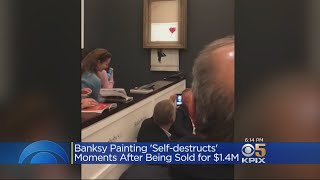 Banksy's $1.4 Million 'Girl With Balloon' Self-Destructs At Sotheby's Auction