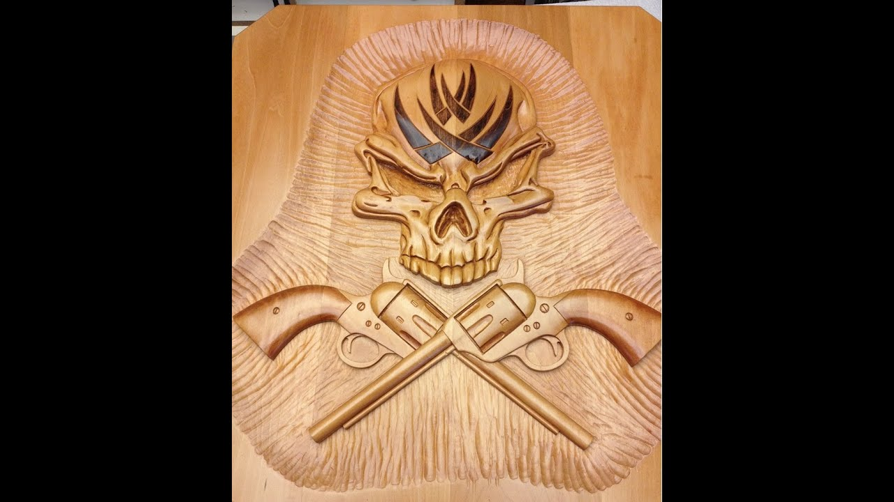 How to carve a large skull and Colt 45 crossbones relief style wall ...