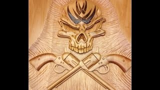 How to carve a large skull and Colt 45 crossbones relief style wall plaque