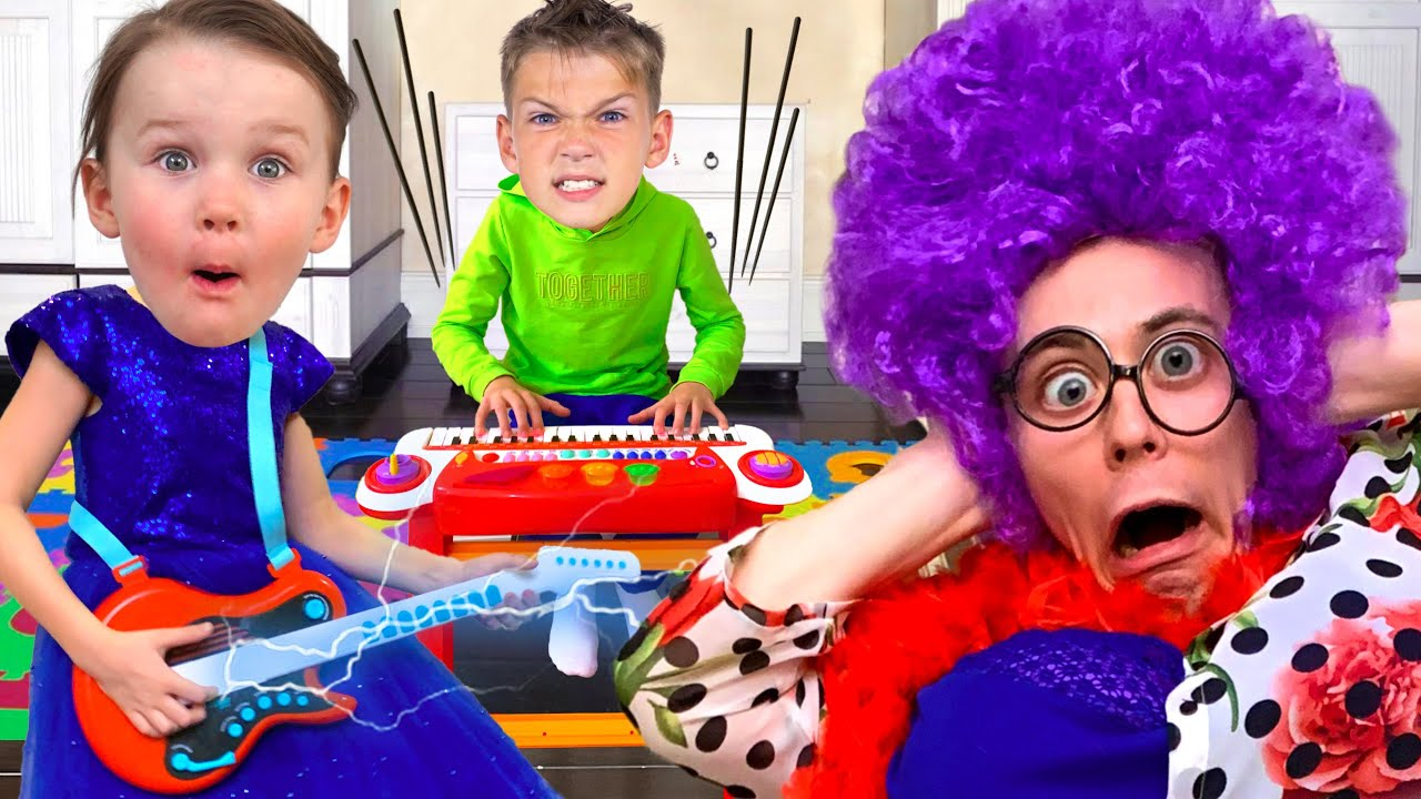 Five Kids Learning Musical Instruments + more Children's Songs and Videos