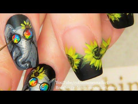 Easy Sunflower Nails + Extra Elephant Nail Art Design Tutorial thumbnail