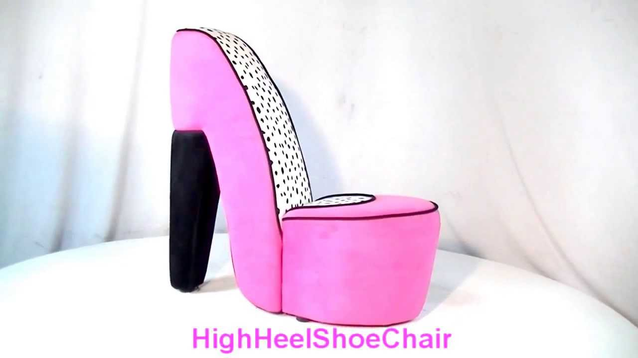Charmant Pink Dalmatian High Heel Shoe Chair