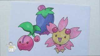 Drawing Pokemon: No. 420 Cherubi, No. 421 Cherrim
