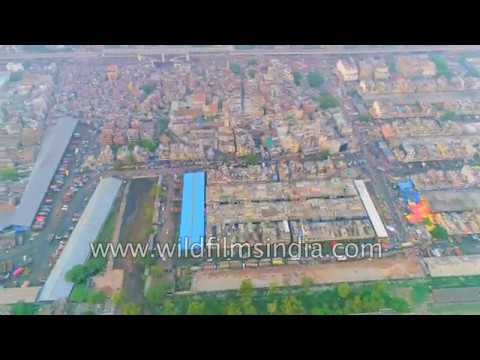 Largest wholesale fruit and vegetable market in Asia: Azadpur Mandi Delhi  4K aerial view
