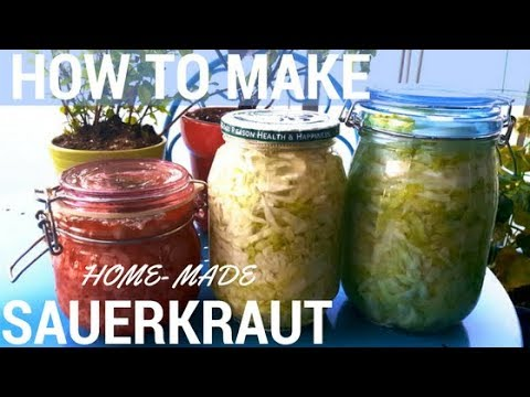 How to Make Gut Healing Home Made Fermented Organic Garlic SAUERKRAUT