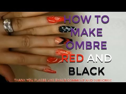 the best nail/DAVID HOANG/HOW TO MAKE OMBRE RED AND BLACK#5