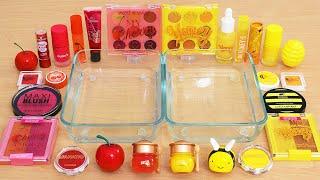 Mixing Cherry vs Honey Makeup and Eyeshadow Into Slime ASMR