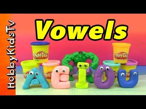 PLAY-DOH Hero Hulk SMASHES Vowels!  A  E  I  O  U  Y Lightning McQueen Batman by HobbyKidsTV