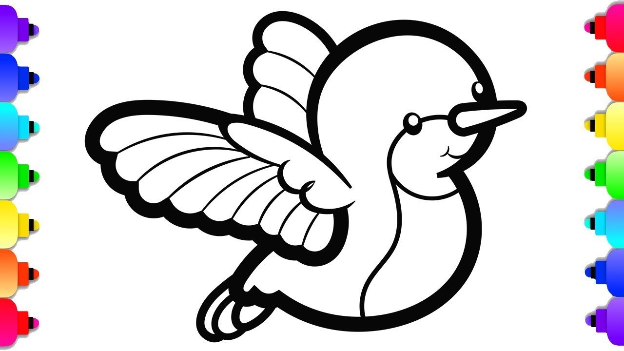 Glitter Baby Hummingbird Coloring And Drawing Cute Animal Coloring Pages Youtube