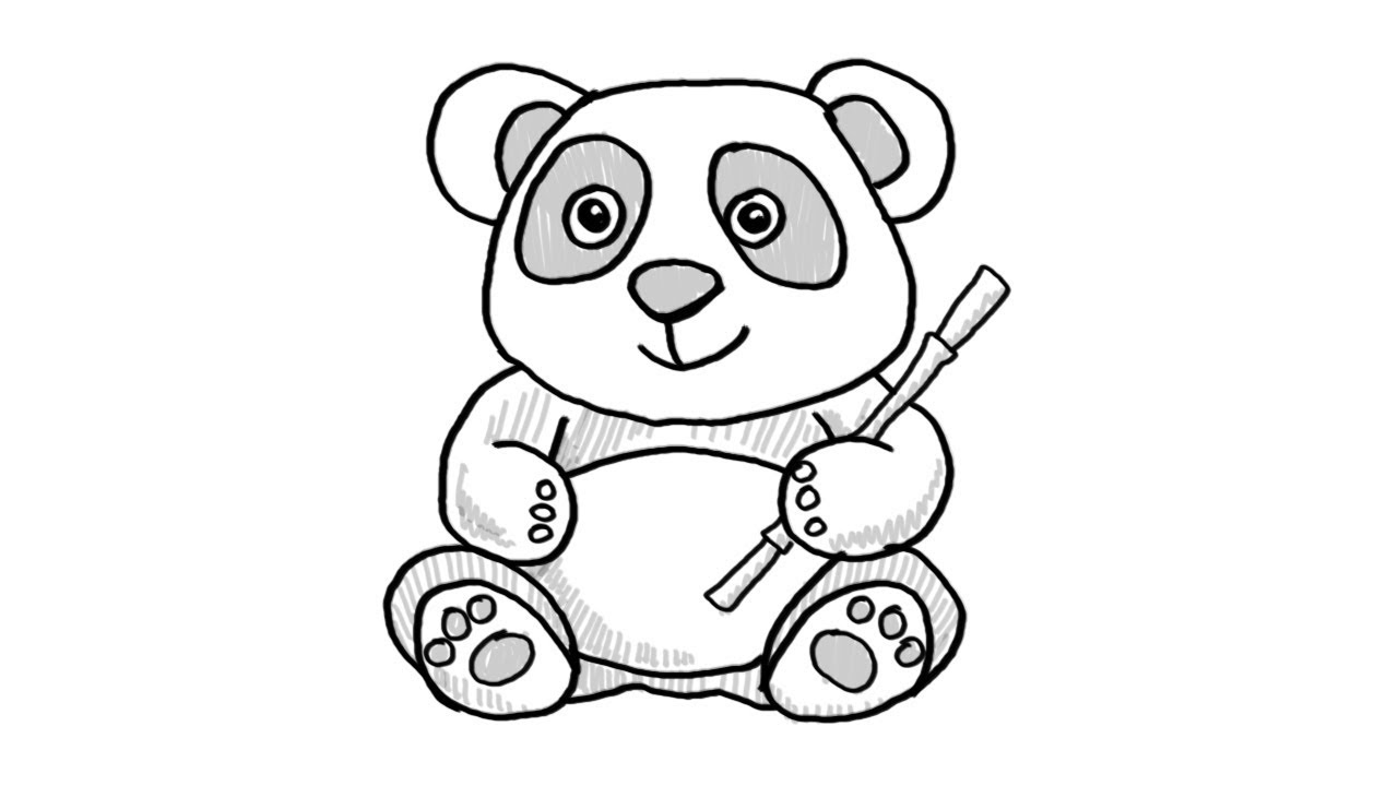 How To Draw An Easy Baby Panda Step By Step Youtube