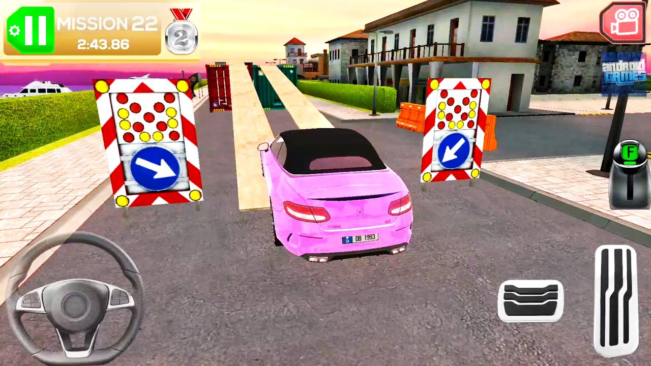 Holiday Pink Mercedes Car Simulator - Driving In Small Italian City - Android Gameplay